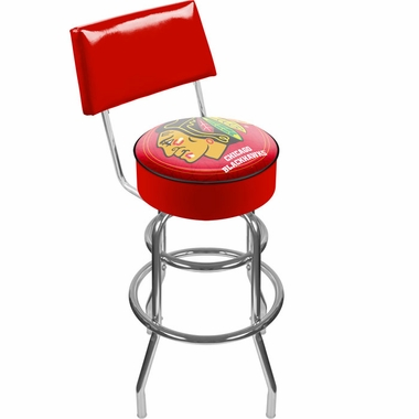 Chicago Blackhawks Padded Bar Stool with Back