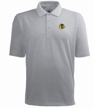 Chicago Blackhawks Mens Pique Xtra Lite Polo Shirt (Color: Gray)