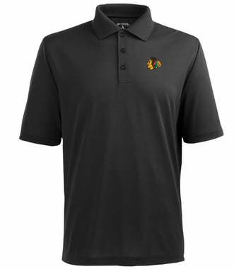 Chicago Blackhawks Mens Pique Xtra Lite Polo Shirt (Color: Black)