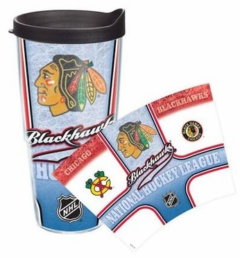 Chicago Blackhawks Set of TWO 24 oz. Tervis Wrap Tumblers w/ Lids