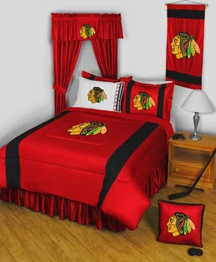 Chicago Blackhawks SIDELINES Jersey Material Comforter