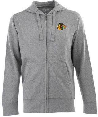 Chicago Blackhawks Mens Signature Full Zip Hooded Sweatshirt (Color: Gray)