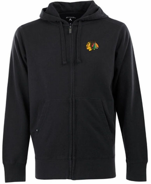 Chicago Blackhawks Mens Signature Full Zip Hooded Sweatshirt (Team Color: Black)