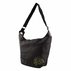 Chicago Blackhawks Sport Noir Sheen Hobo Purse