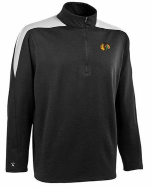 Chicago Blackhawks Mens Succeed 1/4 Zip Performance Pullover (Team Color: Black)
