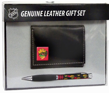Chicago Blackhawks Tri-Fold Wallet and Pen Set