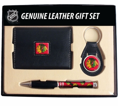 Chicago Blackhawks Trifold Wallet Key Fob and Pen Gift Set