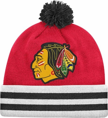Chicago Blackhawks Vintage Jersey Stripe Cuffed Knit Hat w/ Pom
