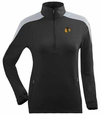 Chicago Blackhawks Womens Succeed 1/4 Zip Performance Pullover (Team Color: Black)