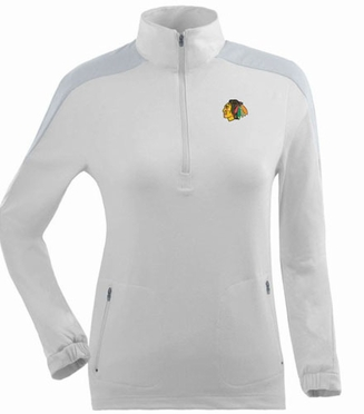 Chicago Blackhawks Womens Succeed 1/4 Zip Performance Pullover (Color: White)