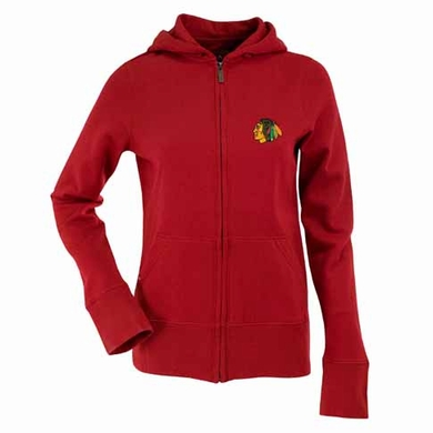 Chicago Blackhawks Womens Zip Front Hoody Sweatshirt (Alternate Color: Red)