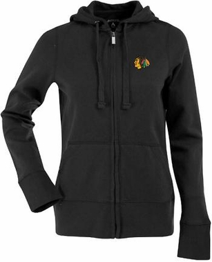 Chicago Blackhawks Womens Zip Front Hoody Sweatshirt (Team Color: Black)