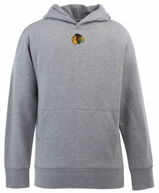 Chicago Blackhawks YOUTH Boys Signature Hooded Sweatshirt (Color: Gray)