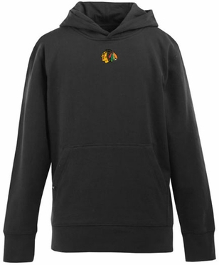 Chicago Blackhawks YOUTH Boys Signature Hooded Sweatshirt (Team Color: Black)