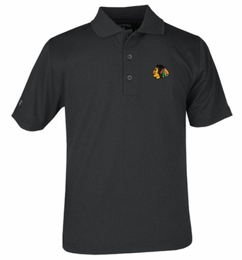 Chicago Blackhawks YOUTH Unisex Pique Polo Shirt (Team Color: Black)