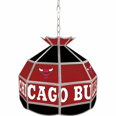 Chicago Bulls 16 Inch Diameter Stained Glass Pub Light