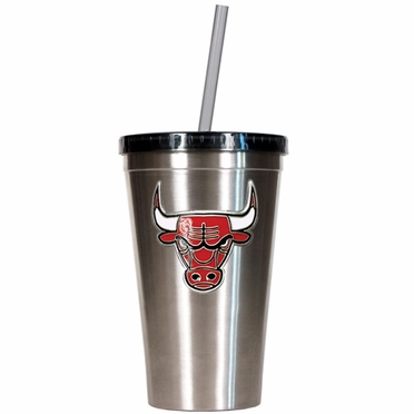 Chicago Bulls 16oz Stainless Steel Insulated Tumbler with Straw