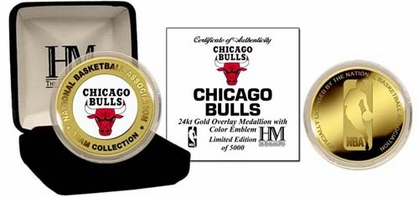 Chicago Bulls CHICAGO BULLS 24KT GOLD AND COLOR TEAM COIN