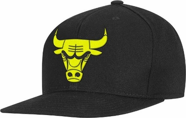 Chicago Bulls Adidas Black Snap Back Hat (Neon Yellow Logo)