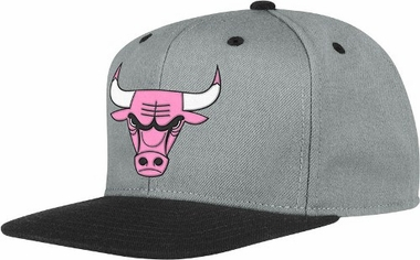 Chicago Bulls Adidas Grey Snap Back Hat (Neon Pink Logo)
