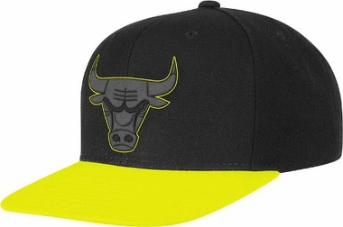 Chicago Bulls Adidas Neon Brim Snap Back Hat (Yellow)