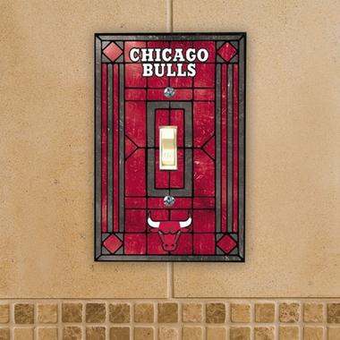 Chicago Bulls Art Glass Lightswitch Cover