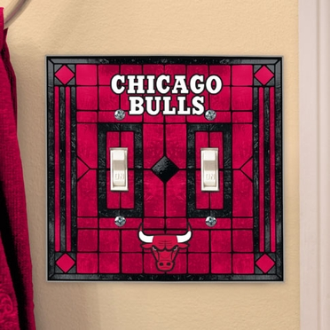 Chicago Bulls Art Glass Lightswitch Cover (Double)