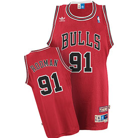 Chicago Bulls Dennis Rodman Adidas Team Color Throwback Replica Premiere Jersey - Large