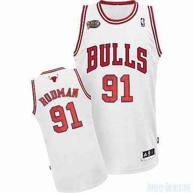 Chicago Bulls Dennis Rodman White Throwback Replica Premiere Jersey