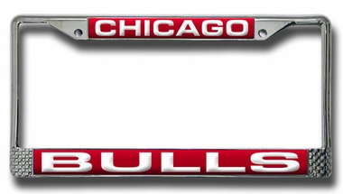 Chicago Bulls Laser Etched Chrome License Plate Frame