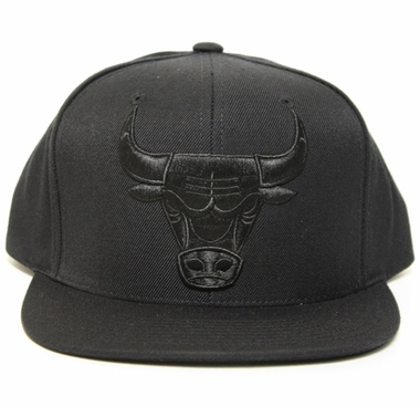 Chicago Bulls Mitchell & Ness Solid Black Tonal Logo Snap back Hat
