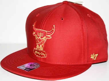 Chicago Bulls Oath Metallic Snap Back Hat (Red)