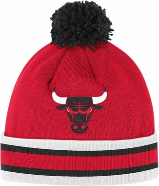 Chicago Bulls Vintage Jersey Stripe Cuffed Knit Hat w/ Pom