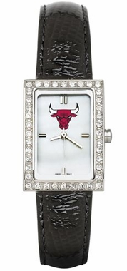 Chicago Bulls Women's Black Leather Strap Allure Watch