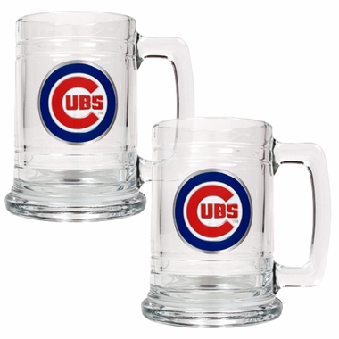 Chicago Cubs 2 Piece 15 oz Glass Tankard Set
