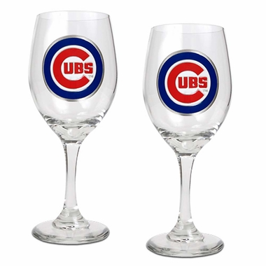 Chicago Cubs 2 Piece Wine Glass Set
