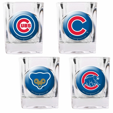 Chicago Cubs 4 Piece Assorted Shot Glass Set