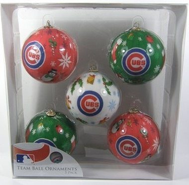 Chicago Cubs 5 Pack Decoupage Ball Ornament Set