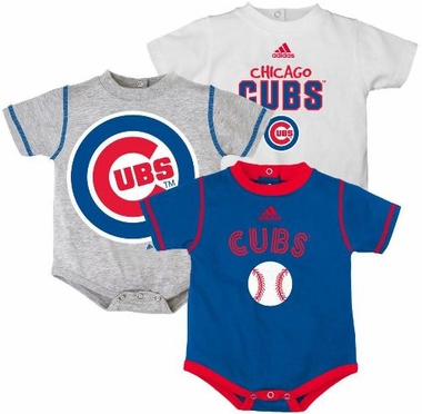 Chicago Cubs Adidas 3 Pack Bodysuit Creeper Set