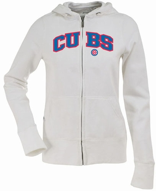 Chicago Cubs Applique Womens Zip Front Hoody Sweatshirt (Color: White)