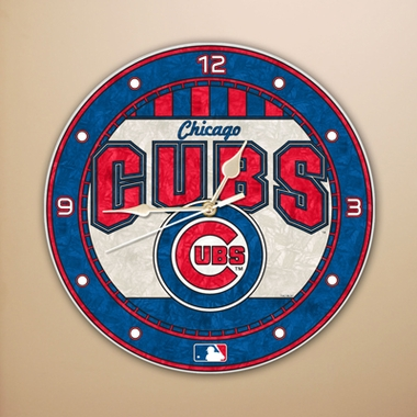 Chicago Cubs Art Glass Clock