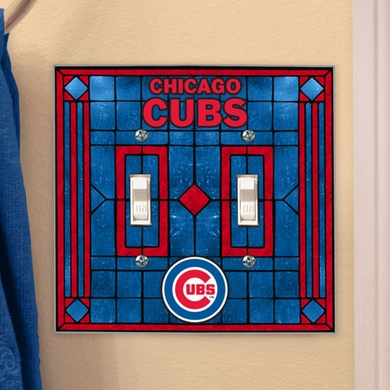 Chicago Cubs Art Glass Lightswitch Cover (Double)