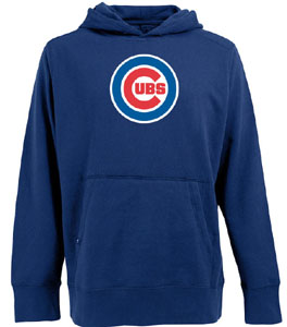 Chicago Cubs Big Logo Mens Signature Hooded Sweatshirt (Team Color: Royal) - Small