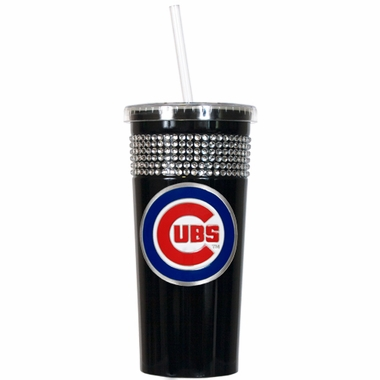 Chicago Cubs Black Bling Tumbler with Straw