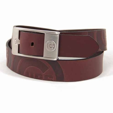 Chicago Cubs Brown Leather Brandished Belt