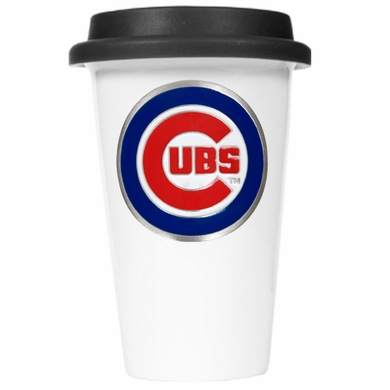 Chicago Cubs Ceramic Travel Cup (Black Lid)