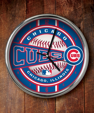 Chicago Cubs Chrome Clock