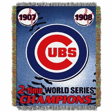 Chicago Cubs Commerative Jacquard Woven Blanket