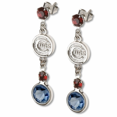 Chicago Cubs Crystal Logo Dangle Earrings
