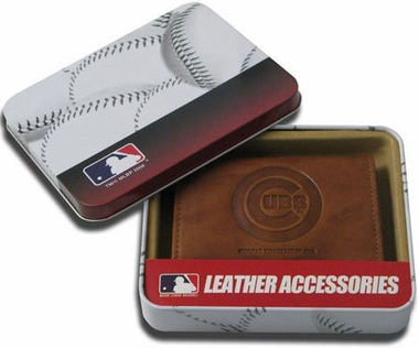 Chicago Cubs Embossed Leather Trifold Wallet